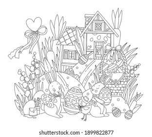 Happy Easter Coloring pages. Rabbits and chickens paint Easter eggs against the backdrop of flowers and houses. Line art design for adult or kids colouring book in doodle style. Vector illustration.