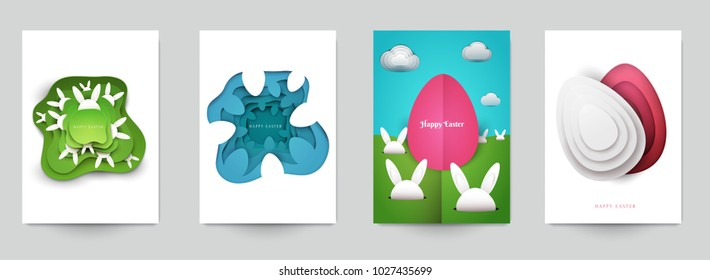 Happy easter concept. Set holiday background for cover, invitation, poster, banner, flyer, placard. Minimal template design for branding, advertising in paper cut style. Vector illustration.