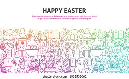 Happy Easter Concept. Vector Illustration of Line Web Design. Banner Template.