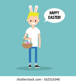 Happy easter concept. Young blond boy wearing bunny ears and holding a wicker basket with dyed easter eggs / flat editable vector illustration, clip art