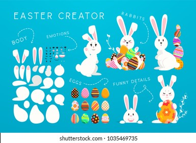 Happy Easter creator: funny rabbits with colorful eggs. Cute baby bunnys in different poses, emotions, decorative eggs collection. Trendy patterns, holiday easter background, vector illustration.