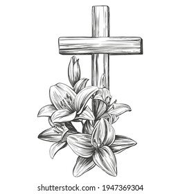 Happy easter, cross and floral blooming lilies, Easter. symbol of Christianity hand drawn vector illustration sketch