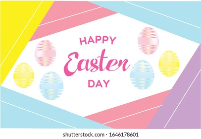 Happy Easter cute background with colorful decorated eggs. Can use for Invitation, greeting card, ad, promotion or sale, poster, flyer, web-banner, article, social media