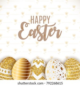 Happy Easter Cute Background with Eggs. Vector Illustration EPS10