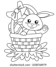 Happy Easter. Cute bunny sitting in basket with eggs. Black and white vector illustration for coloring book