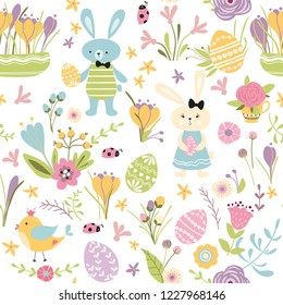 Happy Easter cute hand drawn card with rabbit Bunny bird eggs spring flowers branches on white Seamless pattern Vector illustration Spring Easter repeated background banner print Kids style.