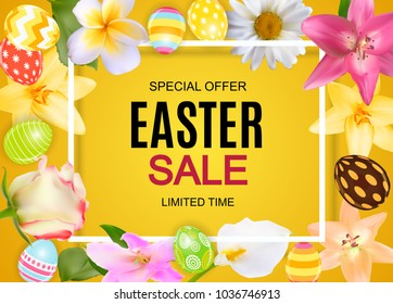 Happy Easter Cute Sale Poster  Background with Eggs and Flowers. Vector Illustration EPS10