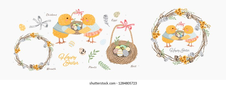 Happy Easter! Cute vector isolated objects and elements for Easter cards, posters, banners and invitations: chickens, a wreath of willow twigs, a nest with eggs, a feather, a quail egg, plants