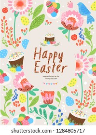 Happy easter! Cute vector poster, card or banner with floral ornament, festive background of flowers, eggs, Easter cake and plants, an egg-shaped frame, fun pattern