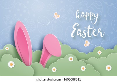 Happy Easter day background with bunny hide in grass in paper cut style. Digital craft paper art. Poster, banner, backdrop, wallpaper.