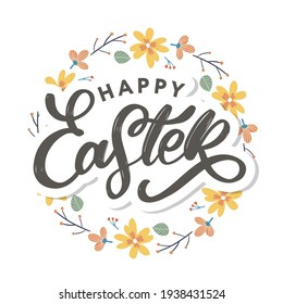Happy Easter day background with frame flowers