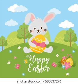 Happy Easter Day card. Rabbit with easter eggs, sunny spring landscape and green meadow.
