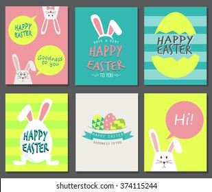 Happy easter day. cute bunny Ears with eggs and text  logo on sweet blue background, can be use for greeting card, text can be added.  vector illustration