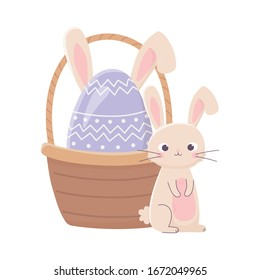 happy easter day, cute rabbit and egg with ears in basket decoration vector illustration
