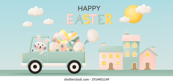 Happy easter day with cute rabbit driving a car and lot of easter eggs in pastel color 3d paper art style vector illustration