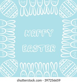 Happy Easter day with egg and rabbit. Vector illustration.