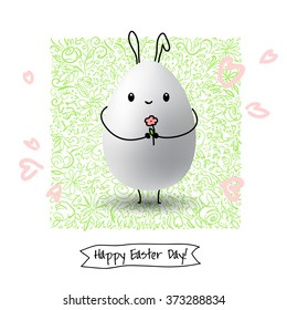 Happy Easter Day greeting card with colored eggs and flowers. Hand Drawn and Handwritten Design Elements. Vector illustration  Lettering Design.