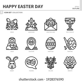 happy easter day icon set,outline style,vector and illustration