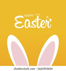 Happy easter day illustration. Horizontal greeting banner with bunny. Vector - Shutterstock ID 1663393654