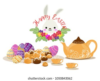 Happy Easter Day items design.Hot cross bun bread and Easter Egg dessert .on isolate background for poster, greeting card, party invitation, banner other users.Vector illustration