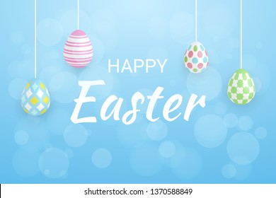 Happy Easter Day Lettering Text Background With Bokeh Light And Colorful Egg. Celebration Banner. Vector