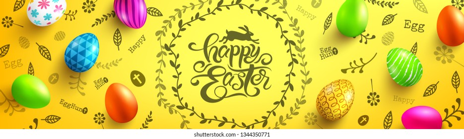 Happy Easter Day Poster with colorful Painted Easter Eggs and hand drawn elements.Handwriting inscription Happy Easter on yellow.Promotion and shopping template for Easter Day.Vector EPS10
