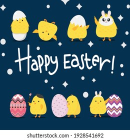 Happy Easter day poster. cute chicks and Easter egg greeting card. banner template on blue Background vector illustration