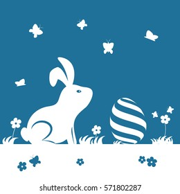Happy Easter day. Silhouette Easter bunny and egg. Vector illustration