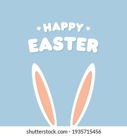 Happy Easter Day vector illustration. Easter day holiday poster,banner with bunny ears