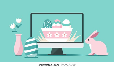 Happy Easter day via online on computer concept, flat vector illustration