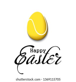 Happy Easter. Decorated egg in the form of a tennis ball with vintage lettering on an isolated background. Pattern for greeting card, banner, poster, flyer, ad, invitation. Vector illustration