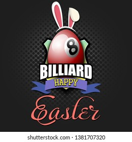 Happy Easter. Decorated egg in the form of a billiard ball with ears rabbit and vintage  lettering on an isolated background. Pattern for greeting card, banner, poster, ad. Vector illustration