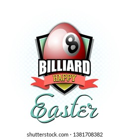 Happy Easter. Decorated egg in the form of a billiard ball with vintage lettering on an isolated background. Pattern for greeting card, banner, poster, flyer, ad, invitation. Vector illustration
