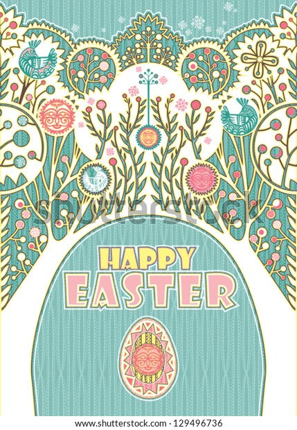Happy Easter. Decorative card with Easter eggs and beautiful trees.