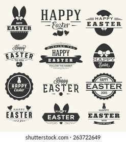 Happy Easter Design Collection - A set of twelve dark colored vintage style Easter Label Designs on light background