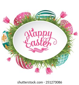 Happy Easter design with grass and tulips EPS 10 vector royalty free stock illustration for greeting card, ad, promotion, poster, flyer, blog, article