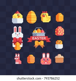 Happy Easter design. Pixel art icons set. Greeting card with rabbit, bunny, eggs and chicken. Isolated vector illustration.
