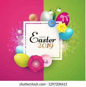 Happy Easter Design Template with Realistic Colorful Eggs, Spring Flowers and Grass. Vector illustration