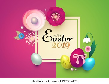 Happy Easter Design Template with Realistic Colorful Eggs and Spring Flowers. Vector illustration