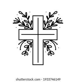 Happy Easter doodle line art design. Black monochrome element. Christian cross. Religie, christianity. Isolated on white background.