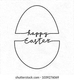 Happy Easter Doodle Style Logo And Egg Shape Outline Combined With Lettering
