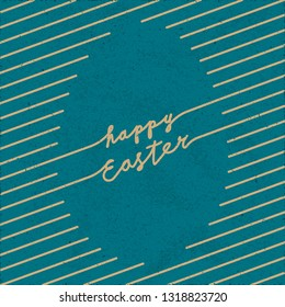 Happy Easter Doodle Style Logo and Blank Egg Shape Created by Repeating Oblique or Slanted Lines with Lettering - Gold on Turquoise Rough Paper Background - Vector Hand Drawn Design