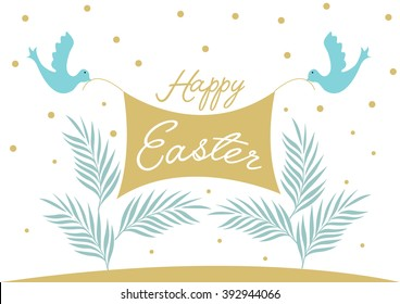 Happy Easter/ Dove and palm vector design with flag line/ Festive card design/ Holiday elements/ Palm Sunday