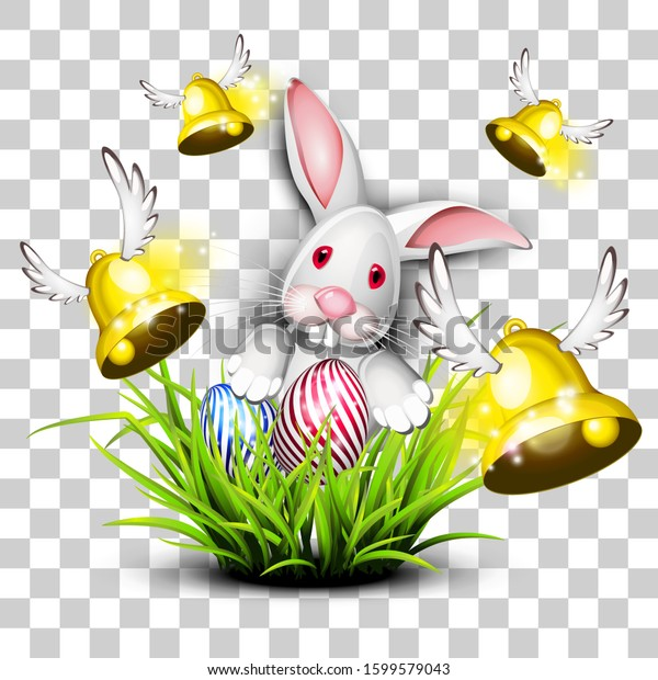 Happy easter egg with bunny and bells with transparencies