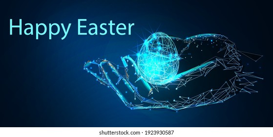 Happy Easter, Egg. Low poly style design. Abstract geometric background. Wireframe light connection structure. Low polygonal design. Modern 3d graphic concept. Isolated vector illustration.