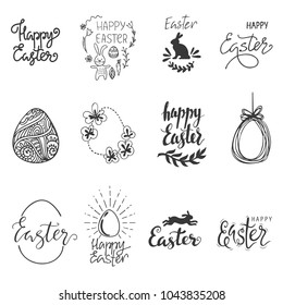 Happy Easter. Egg, rabbit, bunny symbol. Lettering, graphic elements for holiday