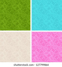 Happy Easter egg seamless patterns set.