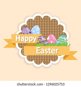 Happy Easter egg. Set of Easter eggs design pattern Easter eggs so cute on cream background. Happy Easter eggs holiday cards set. Festive illustrations with place for text.