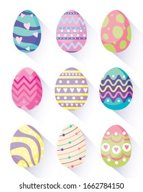 Happy easter eggs design, Spring decoration holiday greeting ornament celebration festive season tradition and festival theme Vector illustration