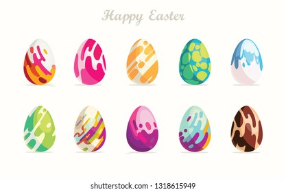 Happy Easter.Set of Easter eggs with different texture on a white background.Spring holiday. Vector Illustration